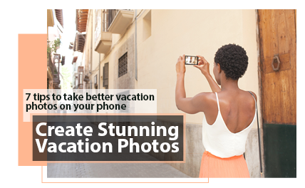 Lady taking a photo on vacation header