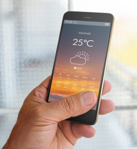 Checking Weather on phone