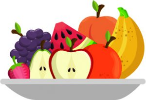 plate of fruit cartoon