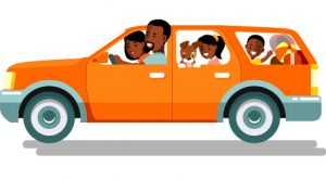 Family in car cartoon