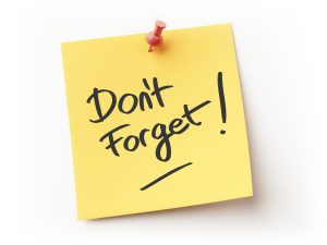Sticky note saying don't forget